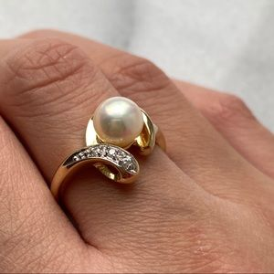14kt YG Cultured Pearl & Diamond Ring